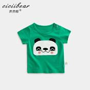 齐齐熊2020夏季男女童熊猫贴布绣短袖T恤婴幼儿宝宝纯棉休闲上衣